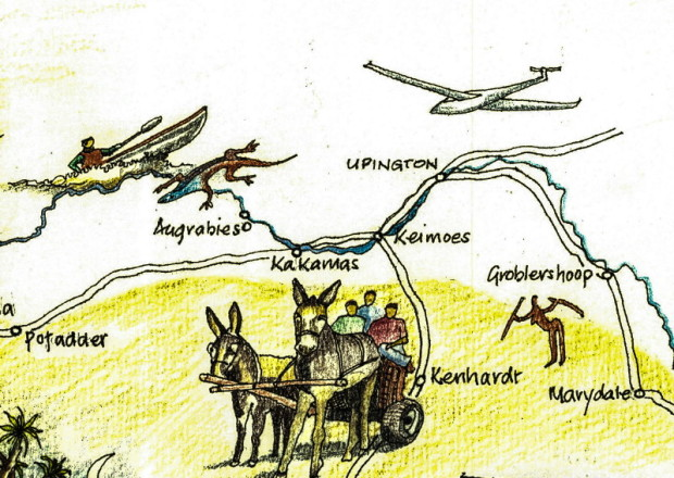 Upington to Augrabies: hand-drawn map by Gil Vermaak.
