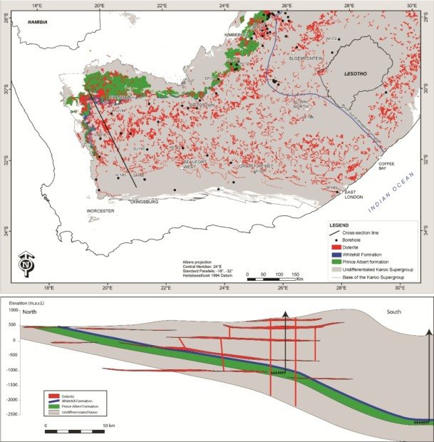 Dolerite map of the Karoo Basin