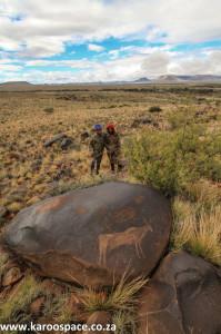 Rock etchings on dolerite, Nelspoort, Karoo