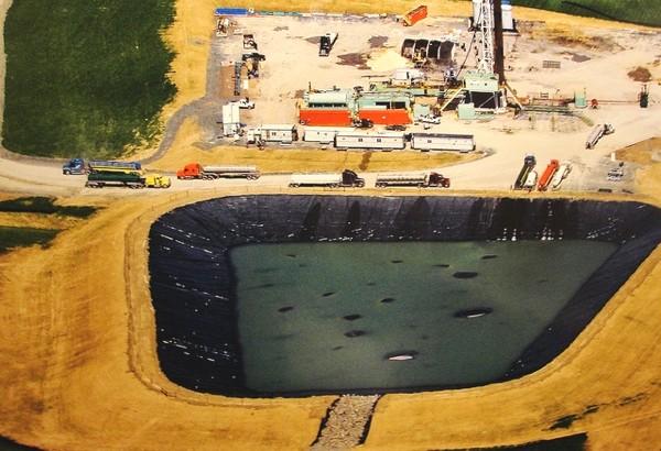 Wastewater pond, frack pad, US