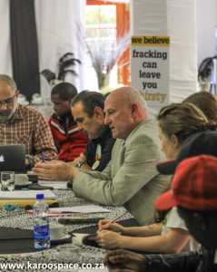 Derek Light (centre) was invited to give an update on the legal status of fracking in the Karoo.