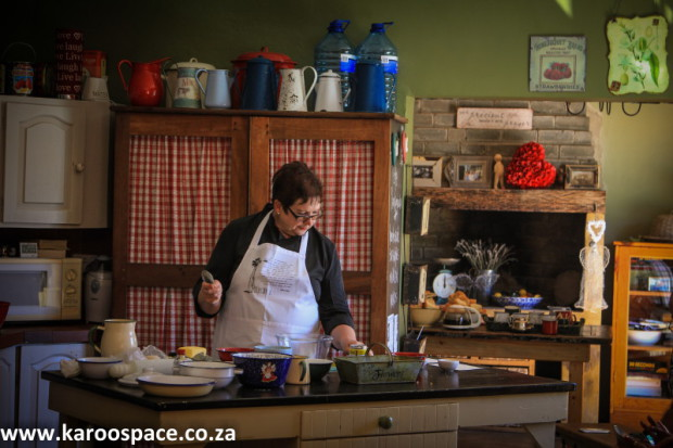 Heyla Meyer giving a food demonstration at Cradock's Karoo Food Festival, 2014.