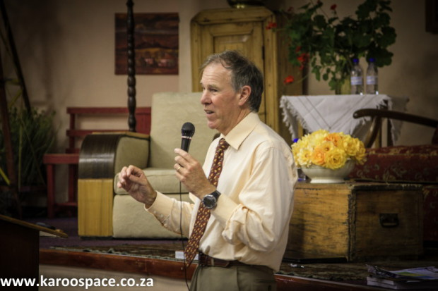 Keynote speaker Professor Tim Noakes filled the hall.