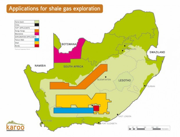Shale gas concessions map, South Africa