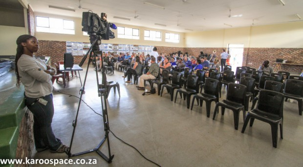SABC cameras, fracking meeting, Karoo