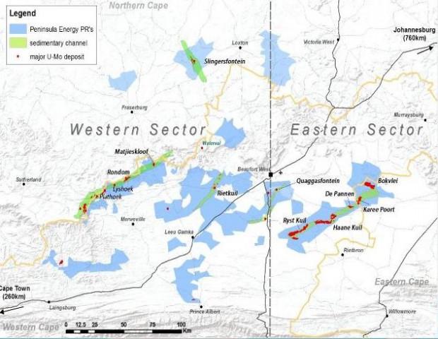 Tasman RSA Mines' Karoo uranium concessions, amounting to 750 000 hectares.