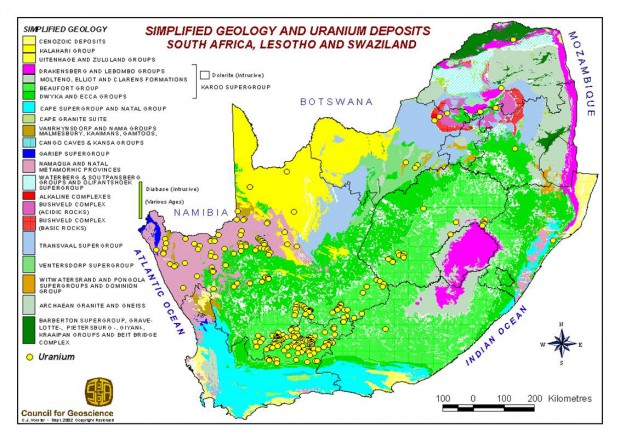 Uranium deposits in South Africa.