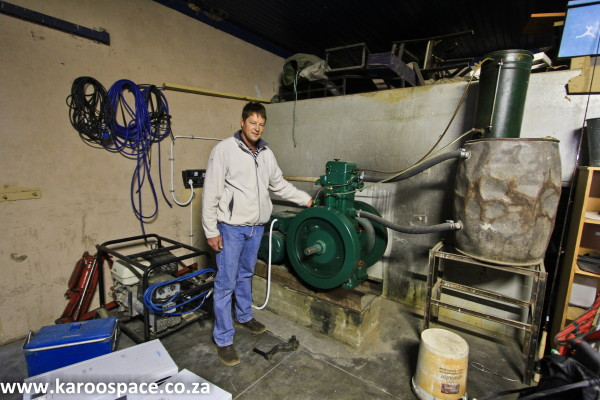 Sometimes the old Lister engine is called on to generate energy for the farm when there is load shedding.