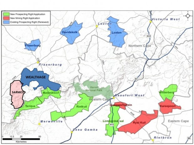 Peninsula's concessions for exploration of Karoo uranium. The area, centred around Beaufort West, spans areas between Rietbron and Aberdeen in the east to Fraserburg and Merweville in the west.,