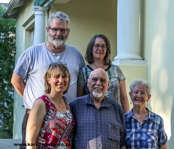 Back row: Prof John Maddocks and Hannelize van Zyl. Front row: Julienne du Toit, Pieter Schalk du Toit Van Zyl and his wife Lenie.