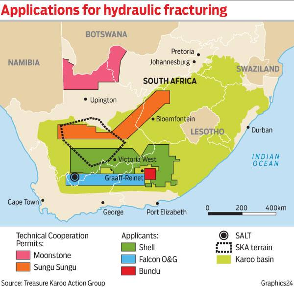 The areas that could be fracked in the Karoo Basin and Kalahari. SALT refers to the Southern African Large Telescope at Sutherland. SKA is the Square Kilometre Array radio telescope at Carnarvon.