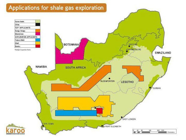 Shale gas concessions in the Karoo Basin.