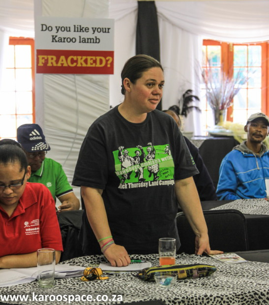 Chriszanne Janse van Vuuren of the Southern Cape Land Committee, which fiercely opposes fracking.