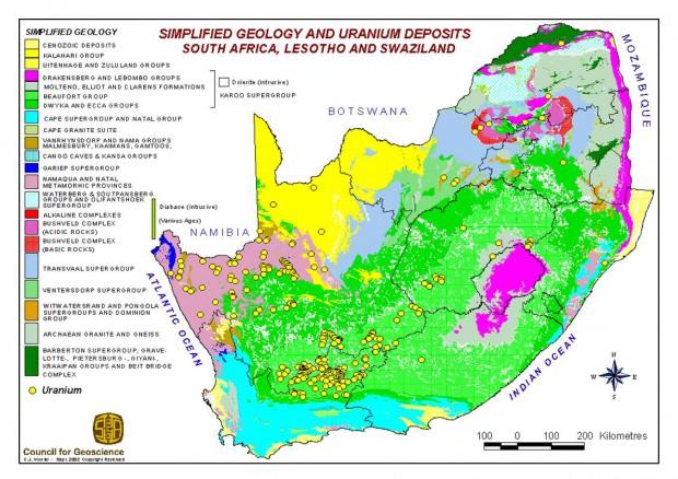 Uranium deposits in South Africa.