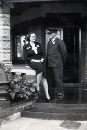 My stern grandmother Johanna Maria du Toit (nee Van Wyk) and my grandfather Pieter Schalk du Toit, in his train driver's uniform, at 3 Elsburg Road, Germiston.