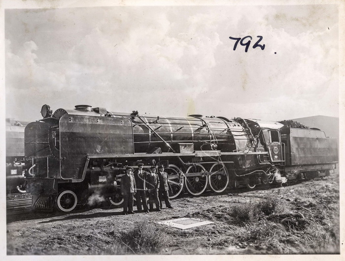 My grandfather Pieter Schalk du Toit, first from left, in front of the locomotive he drove (Engine No 3050, Class 15F) pulling the White Train during the Royal Tour of South Africa in 1947. Image courtesy Transnet Heritage Library Photo Collection