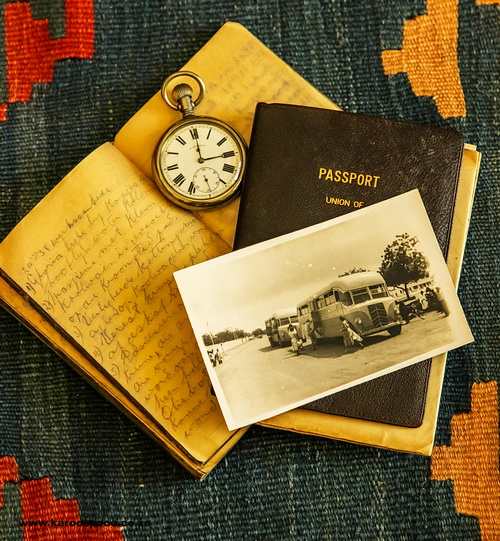 My grandfather's notebook, his watch, his passport and the Motelbus in which he toured thtrough Africa.