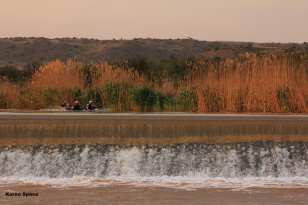 The Cradock Weir along the Fish River, where water for the town is siphoned off via a canal to the water purification works.
